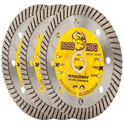 (3 Pack) Boss Hog 4 1/2-Inch Turbo Masonry Diamond Blade