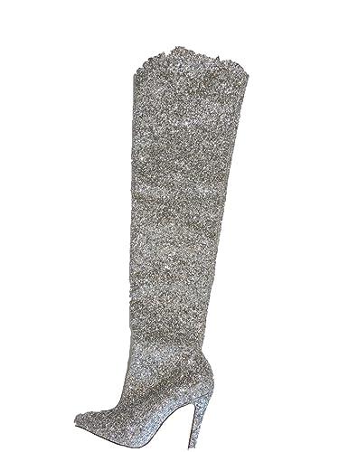 f2e25dba537 Amazon.com | Steve Madden Women's Miracle Metallic Silver Sparkle 4 ...