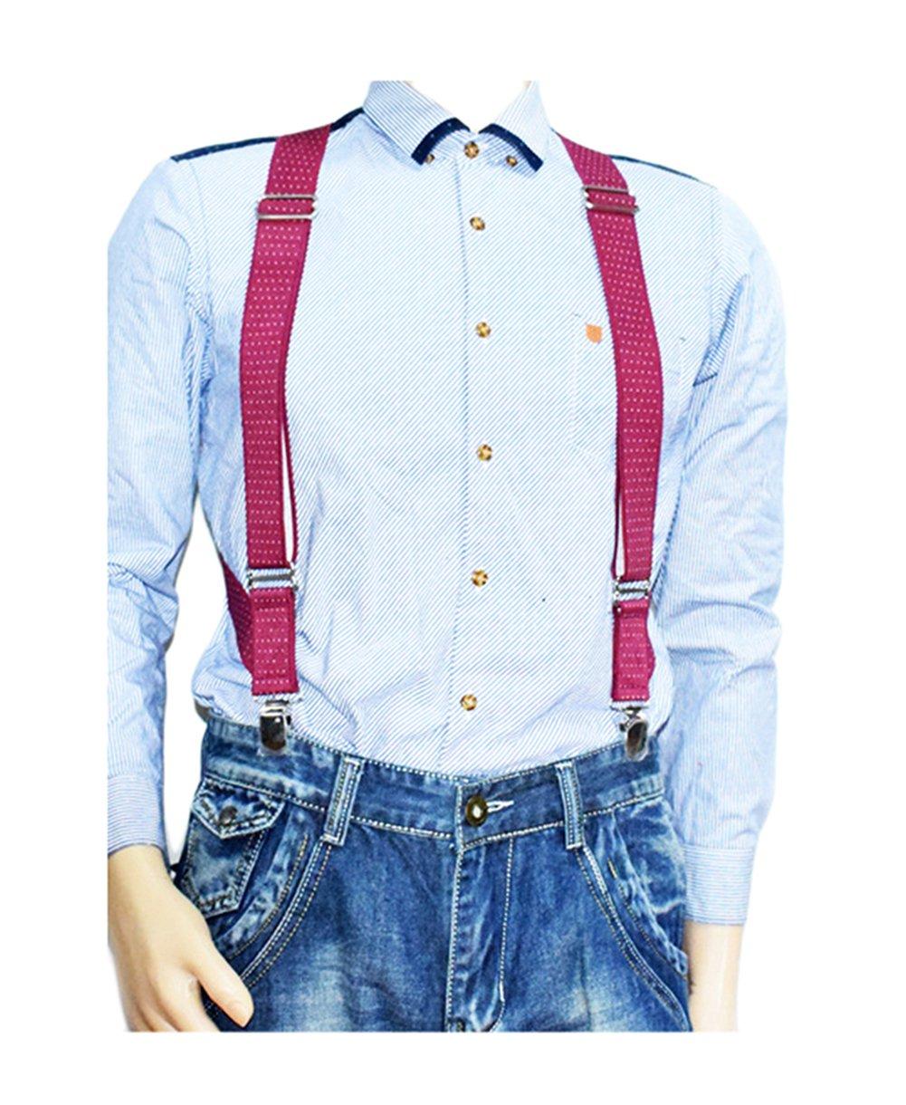 MENDENG Trucker Side Clip Suspenders Polka Dot No-slip Elastic Adjustable Braces by MENDENG