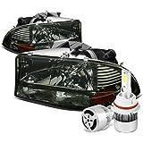 Dodge Dakota / Durango Pair of Smoked Housing Amber Corner Headlight + 9007 LED Conversion Kit W/ Fan