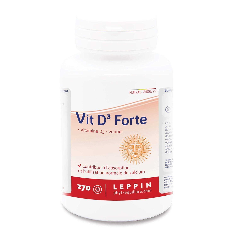 Leppin – Vit. D3 Forte 2000ui 120 Pastillas – Vitamina D Ultra concentrée – imunité y ossature – Suplemento naturales