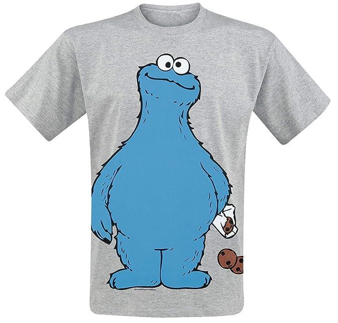 Barrio Sesamo Cookie Monster - Cookie Thief Camiseta Gris Melé  Amazon.es   Ropa y accesorios 91755c4b06b