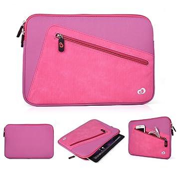 Kroo neopreno funda para tablet/funda para BQ Aquaris M10. Frontal con cremallera bolsa para necesidades de almacenamiento rosa rosa