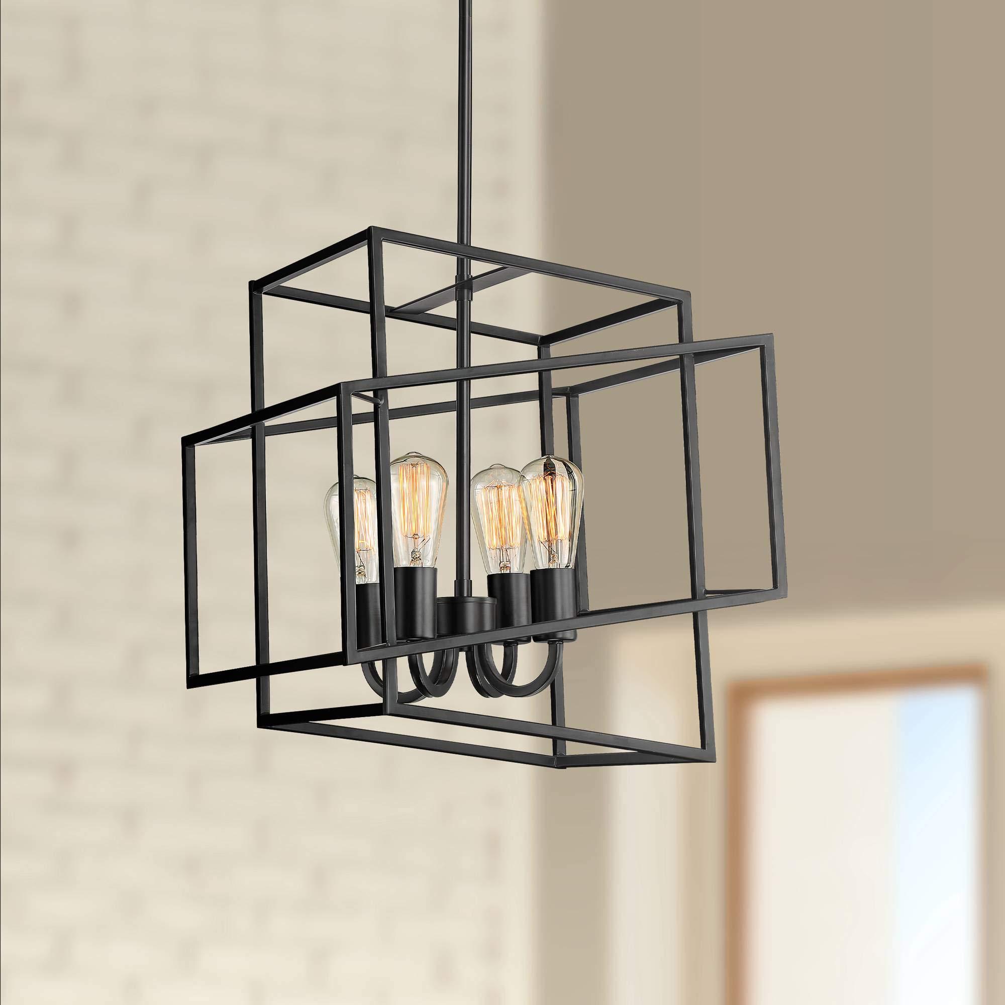 Possini Euro Rinaldi 15 3/4''W Bronze 4-Light Cube Pendant - Possini Euro Design