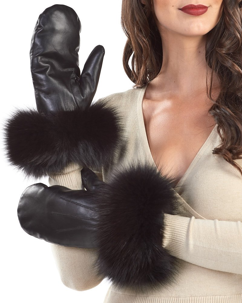 Black Authentic Leather Mittens with Black Fox Fur Cuffs - Large/X-Large