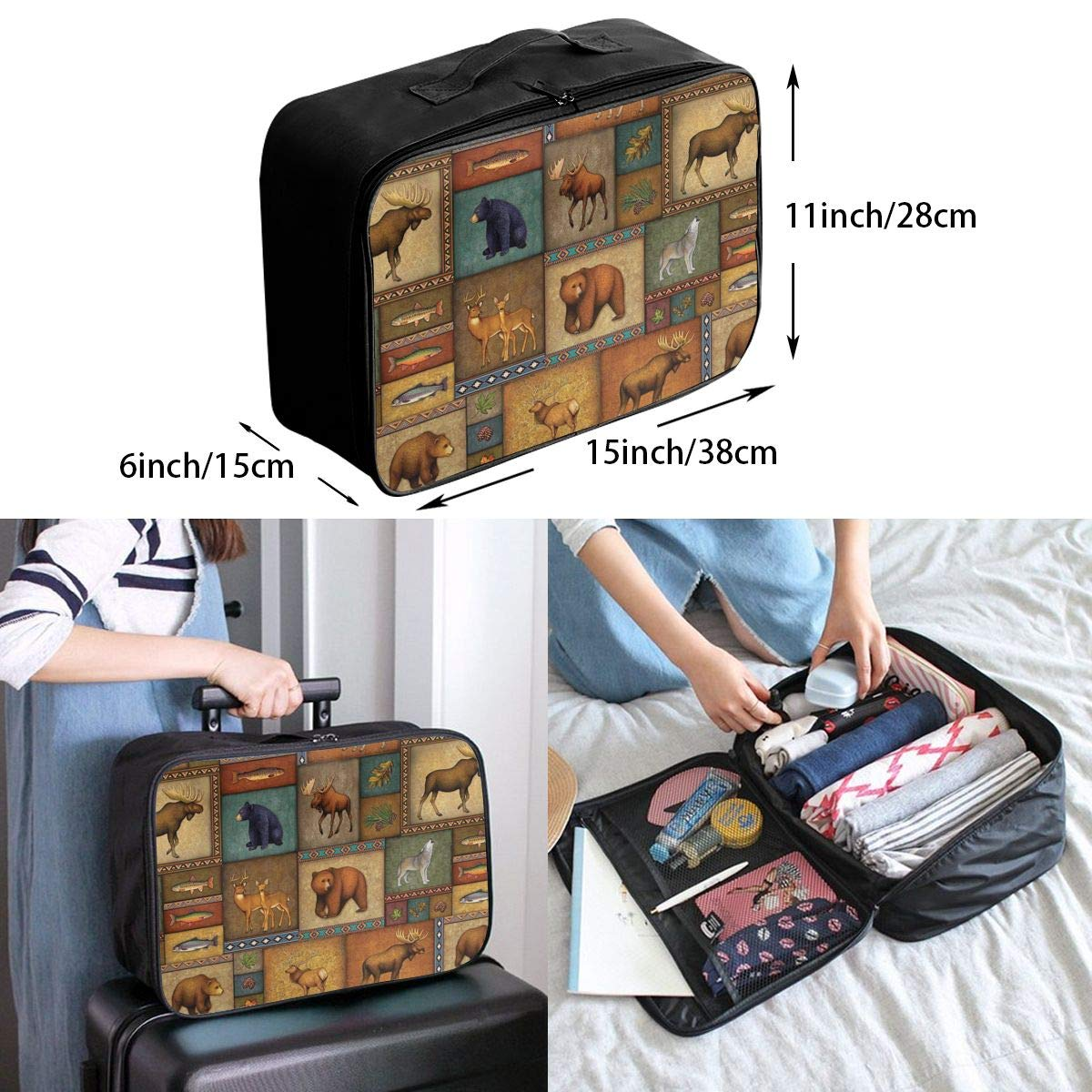 Large Capacity Portable Weekend Bag Overnight Tote Bag New Haunted House Zombie Luggage Duffel Bag for Women Girls