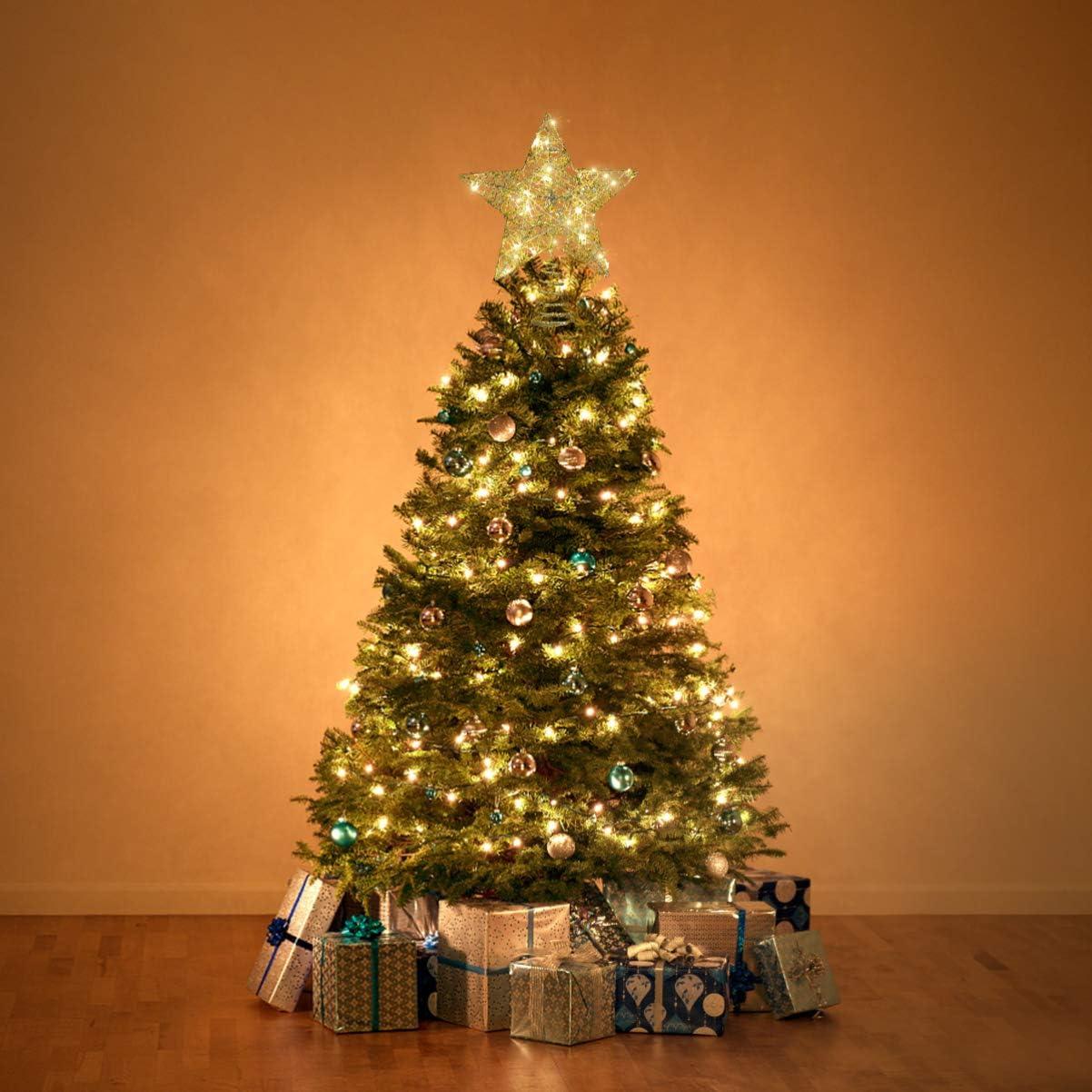 YARNOW Weihnachtsstern Baumkrone Beleuchtet Glitzer Weihnachtsstern Baumkrone F/ührte Goldstern Baumkrone f/ür Weihnachtsfeiertag Party Baumschmuck 1St