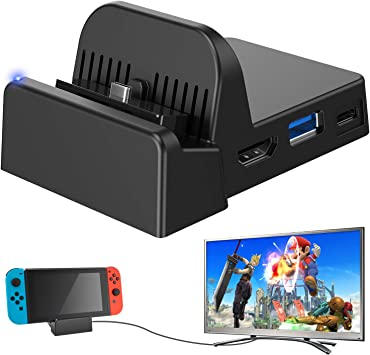 Ponkor Nintendo Switch Dock, Mini Portable Switch Docking Station HDMI TV Adapter Switch Charger Dock Set Ideal Replacement for Official Nintendo Switch Dock (Upgraded System): Amazon.es: Electrónica