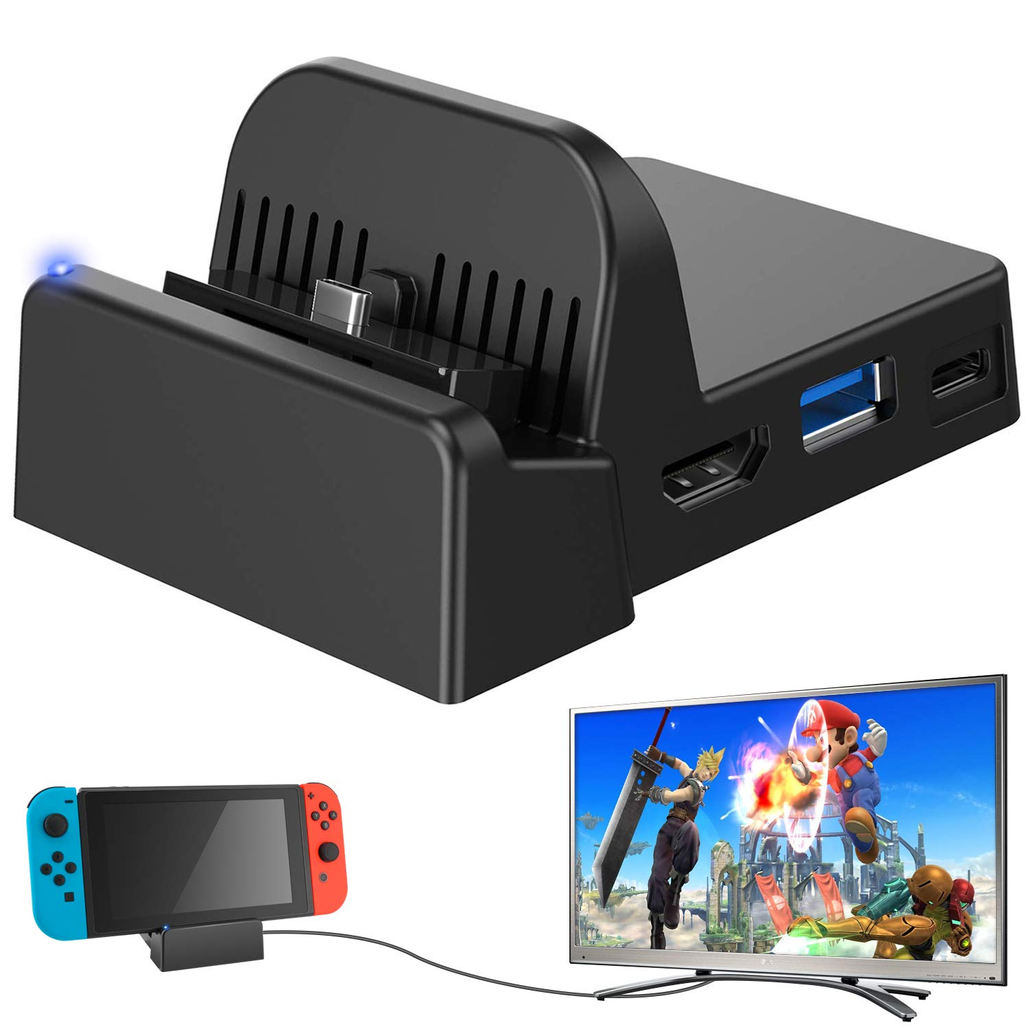 Ponkor Nintendo Switch Dock, Mini Portable Switch Docking Station HDMI 4K TV Adapter Switch Charger Dock Set Ideal Replacement for Official Nintendo Switch Charging Dock (Upgraded System) by Ponkor