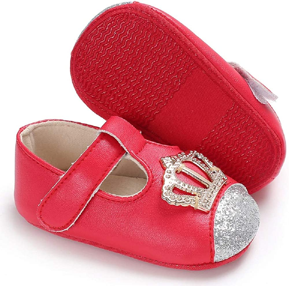 Meckior Infant Baby Girls Mary Jane Soft Sole PU Leather No-Slip Princess Dress First Walkers Shoes