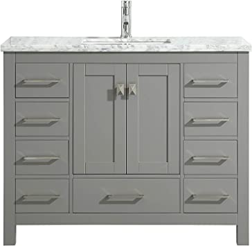 Amazon Com Eviva London 48 X 18 Inch Gray Transitional Bathroom Vanity With White Carrara Marble Countertop And Undermount Porcelain Sink Furniture Decor