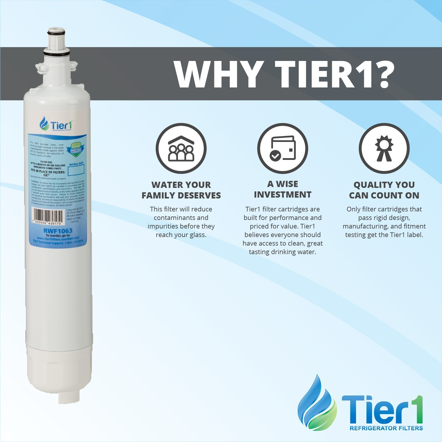 Tier1 Replacement GE RPWF Refrigerator Water Filter (NOT for RPWFE) 2 Pack by Tier1 (Image #6)