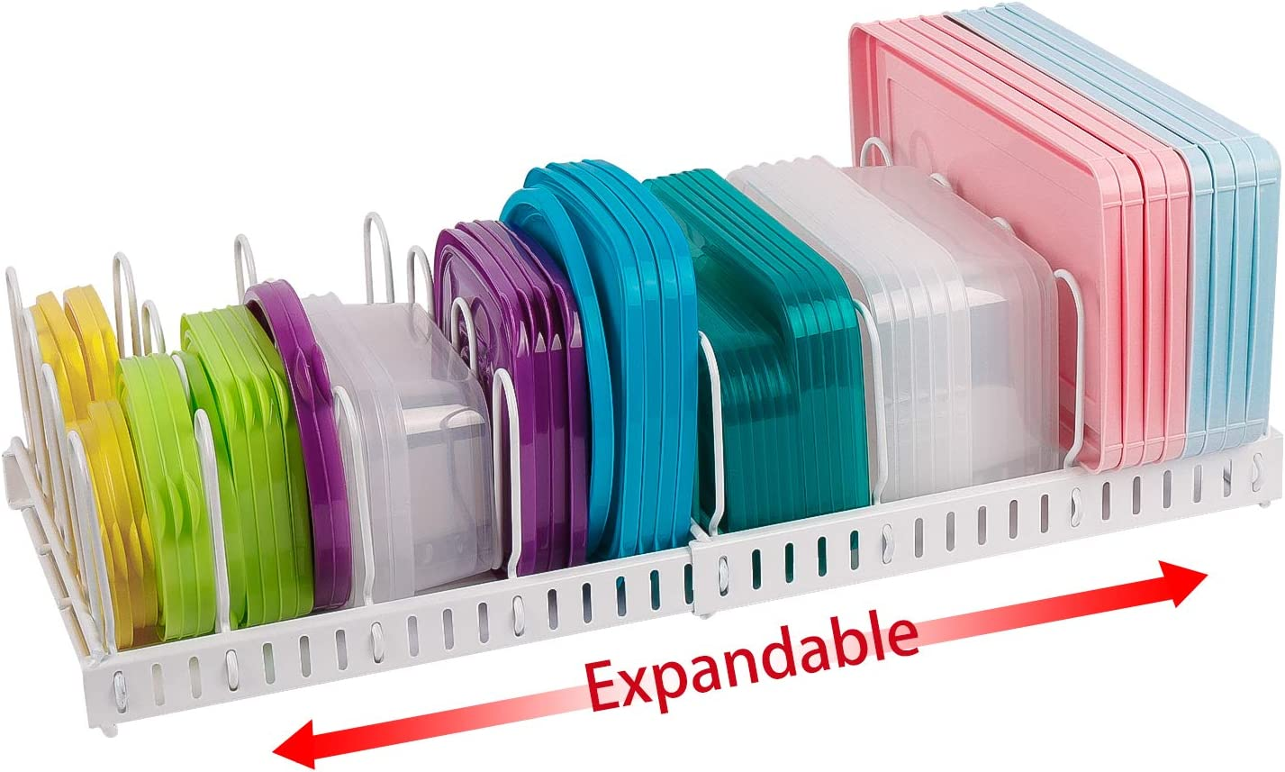 Expandable Food Container Lid Organizer,Large Capacity Adjustable 10 Dividers Detachable Lid Organizer Rack for Cabinets, Cupboards, Pantry Shelves, Drawers to Keep Kitchen Tidy,White(Patent Pending)