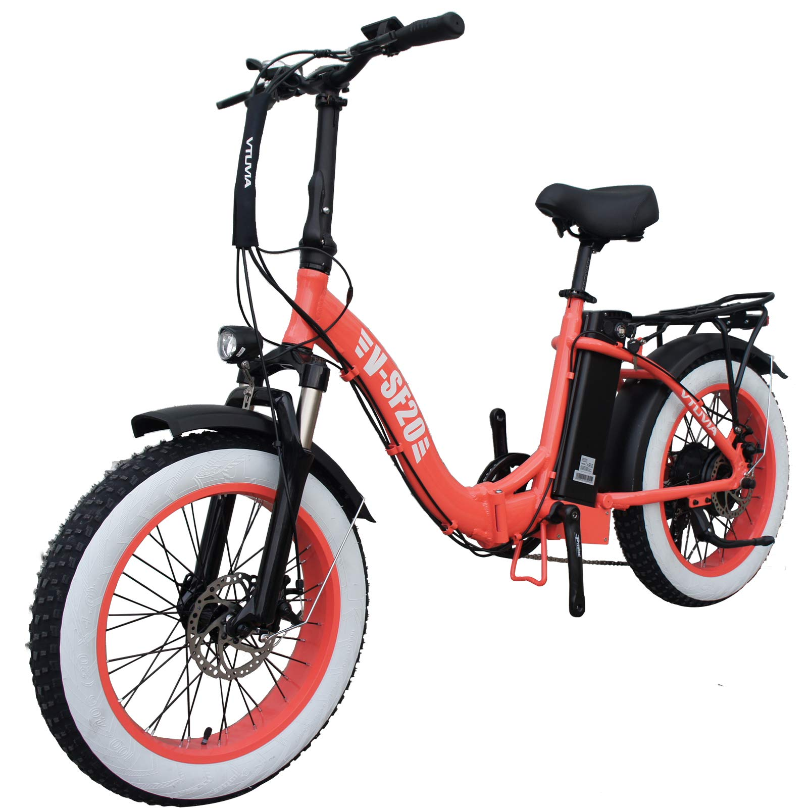 vtuvia 20 Inch Fat Tire Folding Electric Bike Beach Snow Mountain 750W Motor 48V 13AH Removable Lithium-Ion Battery Electric Bicycle