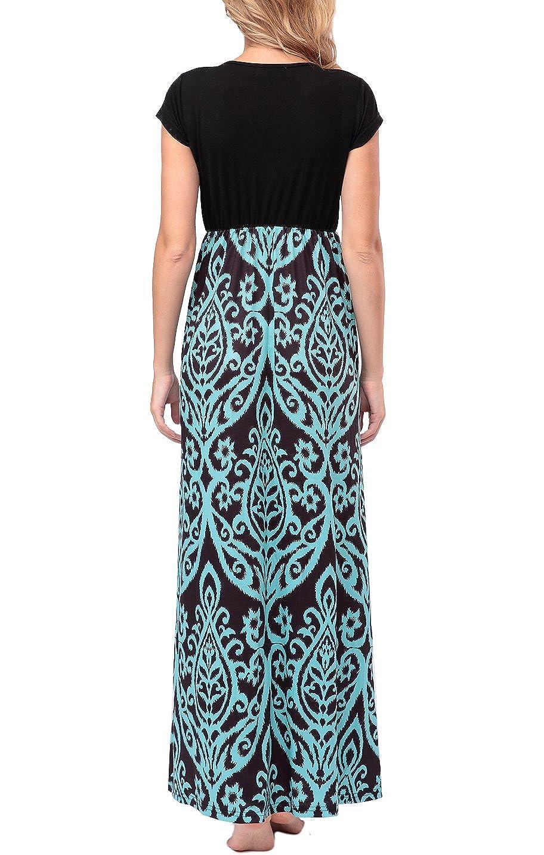 100849f557f4 Amazon.com: Zattcas Womens Summer Contrast V Neck Empire Waist Floral Print Maxi  Dress (Small, Aqua Black): Clothing