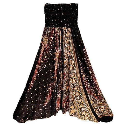 0597f2d9b7ec3 Snowfoller Women Loose Yoga Pants - Bohemian Style Printing High Elastic  Waist Sport Trousers Low Crotch