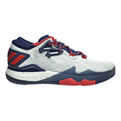 san francisco 63e59 8356e adidas Crazylight Boost Low 2016 Big Kids Shoes WhiteCollegiate  NavyScarlet bb8163 (