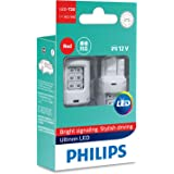 Philips Ultinon LED T20 W21/5W 12V Red Wedge globes - boxed pair