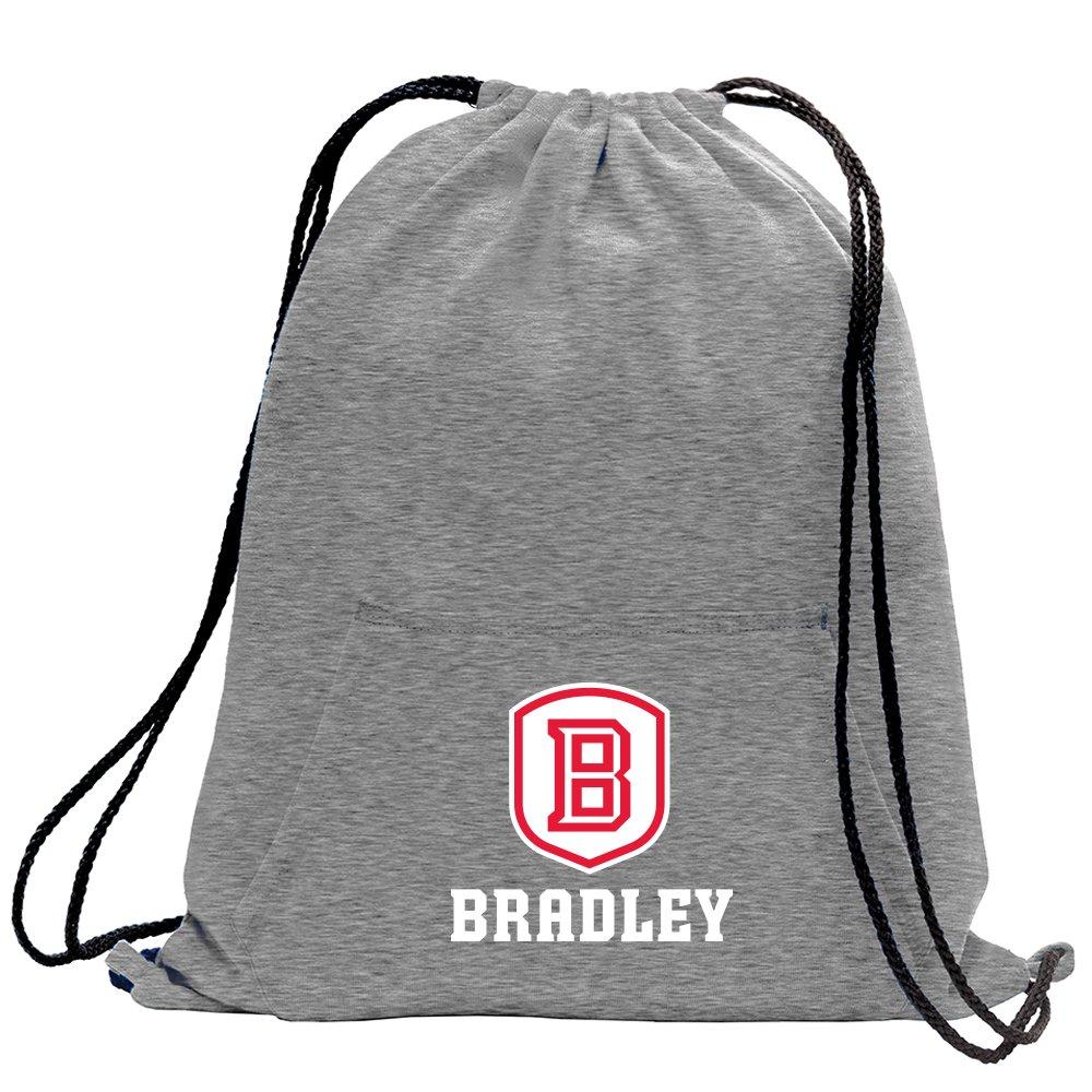 Promoversity NCAA Bradley Braves Adult Sweatshirt Cinch Bag,17.75'' x 14.5'',Athletic Heather