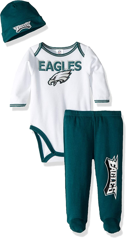 NFL Baby-Boy Bodysuit Footed Pant /& Cap Set