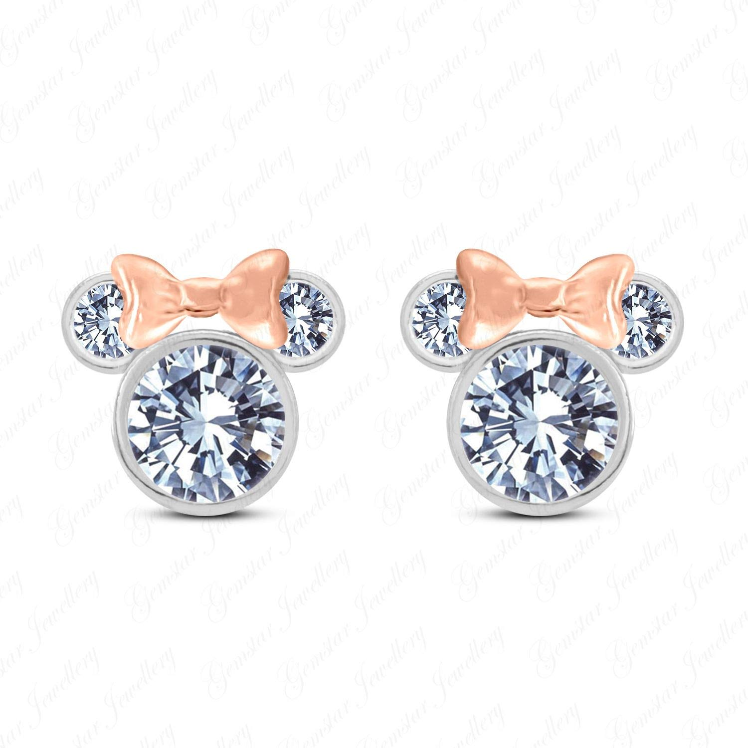 White Cubic Zirconia Womens Girls Disney Mickey Minnie Mouse Stud Earrings 925 Sterling Silver 14k Gold Plated