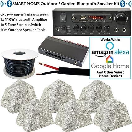 Sistema de altavoces Bluetooth para exteriores de 3 zonas, 6 altavoces de 75 W para jardín, 110 W, amplificador estéreo inalámbrico para el hogar inteligente, cable divisor, reproductor de música externo ECHO