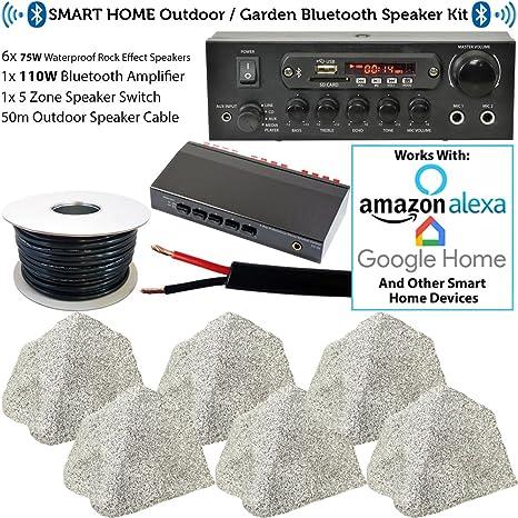 Sistema de altavoces Bluetooth para exteriores de 3 zonas, 6 altavoces de 75 W para jardín,