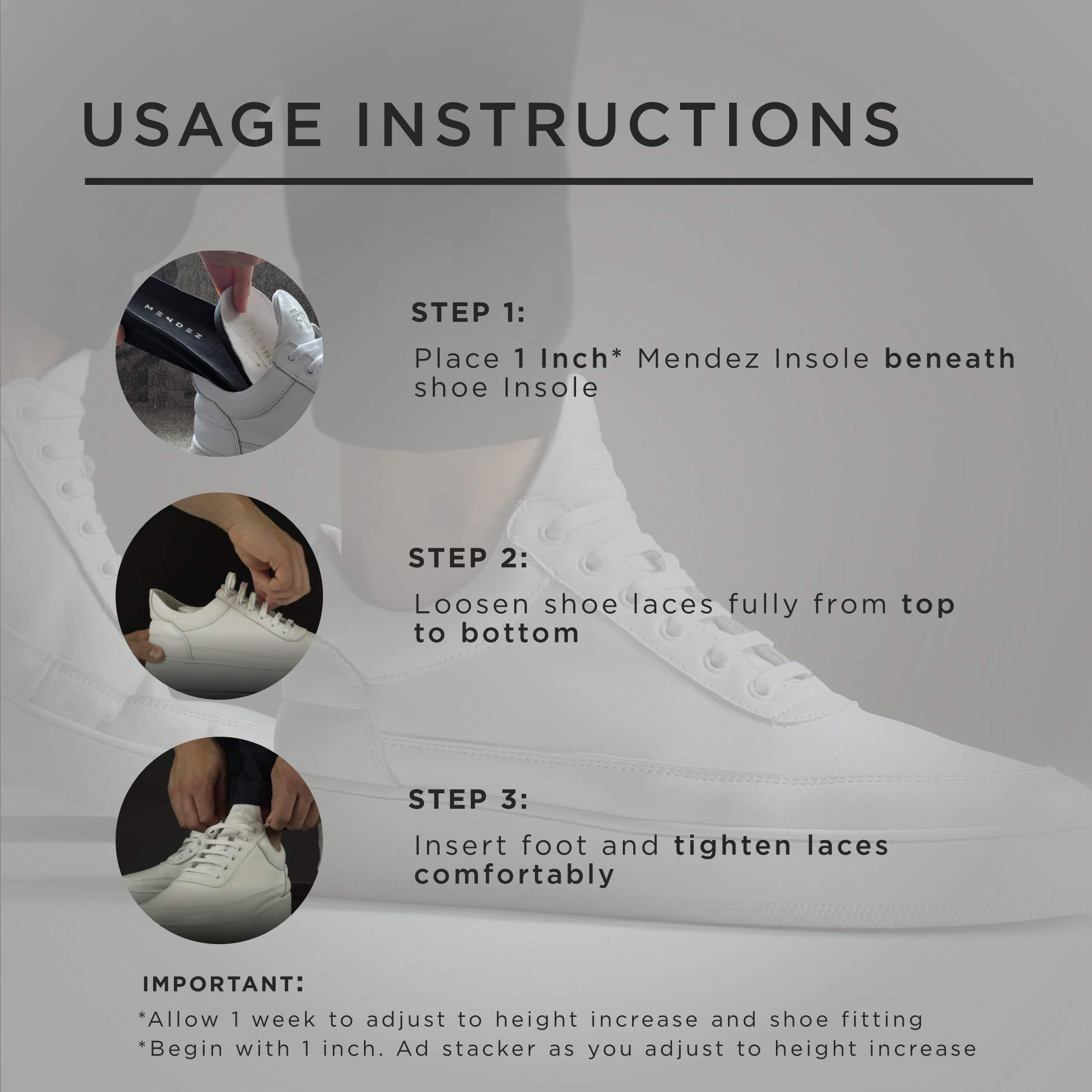 Mendez™ Premium Height Increase Insole - Advanced Comfort and Ergonomics, Shoe Lifts for Men & Women, Heel Lifts for Shoes, Elevator Shoe, Shoe Lift, Height Increasing Insole Kit, 1.5 inch by Mendez Insole Design Inc. (Image #5)