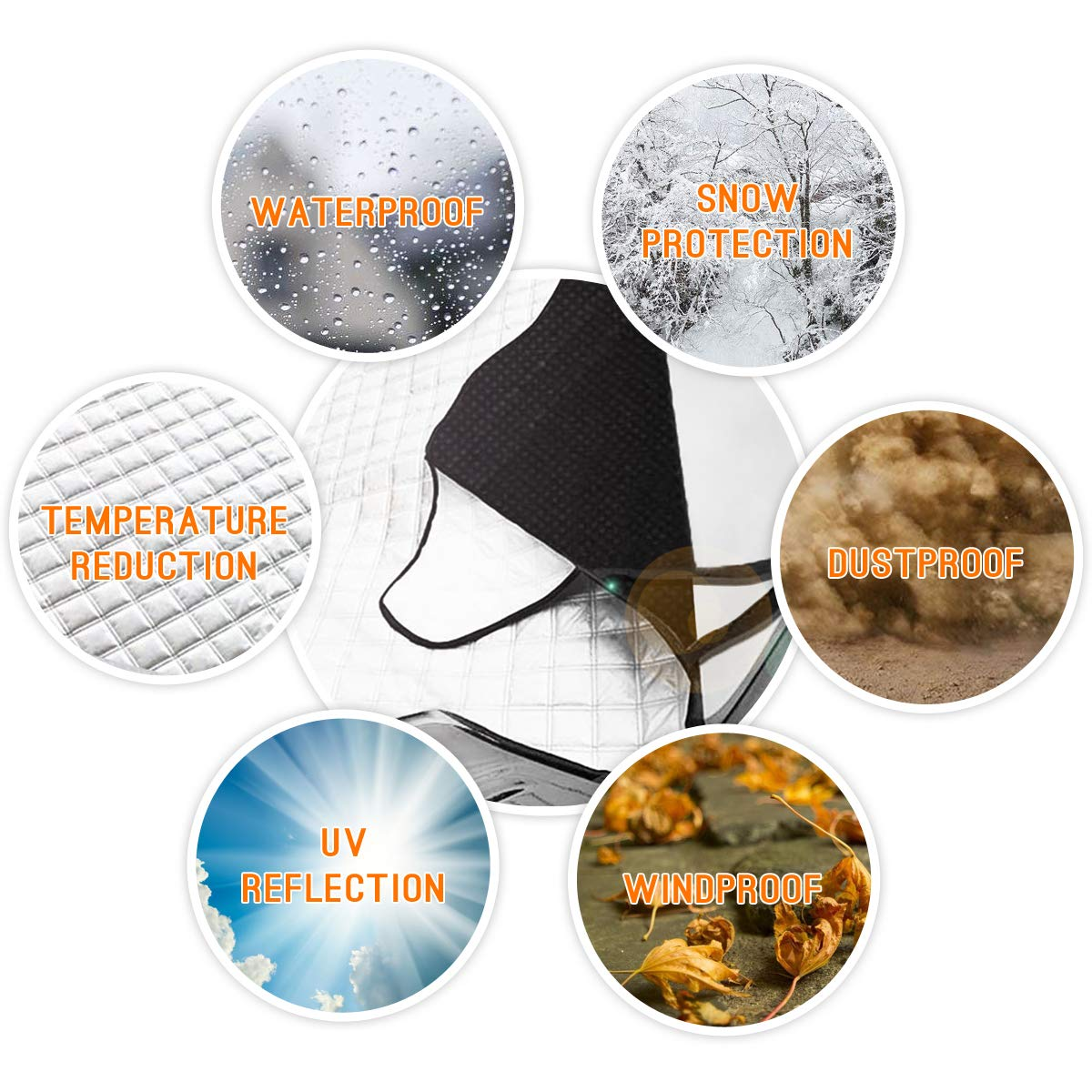 isimsus ISMagnetCover Pare-Brise Pare-Brise de Voiture avec Aimant Amovible et Amovible pour lhiver 183 116 cm