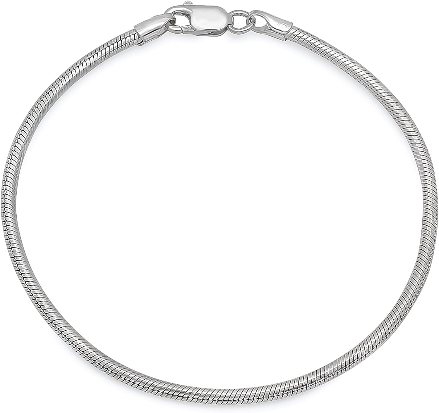 2mm Max 62% Classic OFF Solid .925 Sterling Silver Snake Bracelet Chain Round