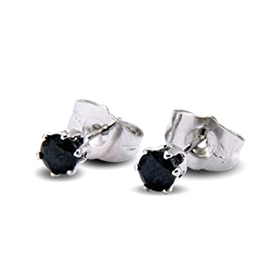 f604ee180ee5 Blue Diamond Club - Small 4MM Black 18ct White GOLD FILLED Stud Earrings  Womens Childrens  Amazon.co.uk  Jewellery