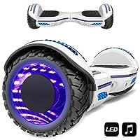 Markboard gyropode 6.5 Pouces Bluetooth MS6, Gyropode avec Pneu à LED de Couleur, Smart Scooter Électrique Auto-équilibrage EL-ES01(Blanc)
