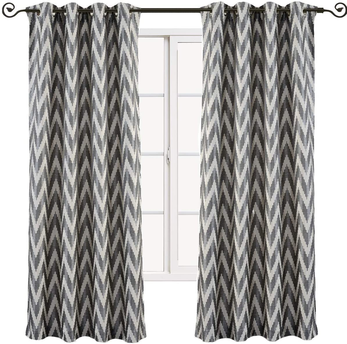 sheetsnthings Lisette Chevron 108-Inch Wide x 108-Inch Long, Set of 2 Jacquard Grommet Top Curtains, Charcoal