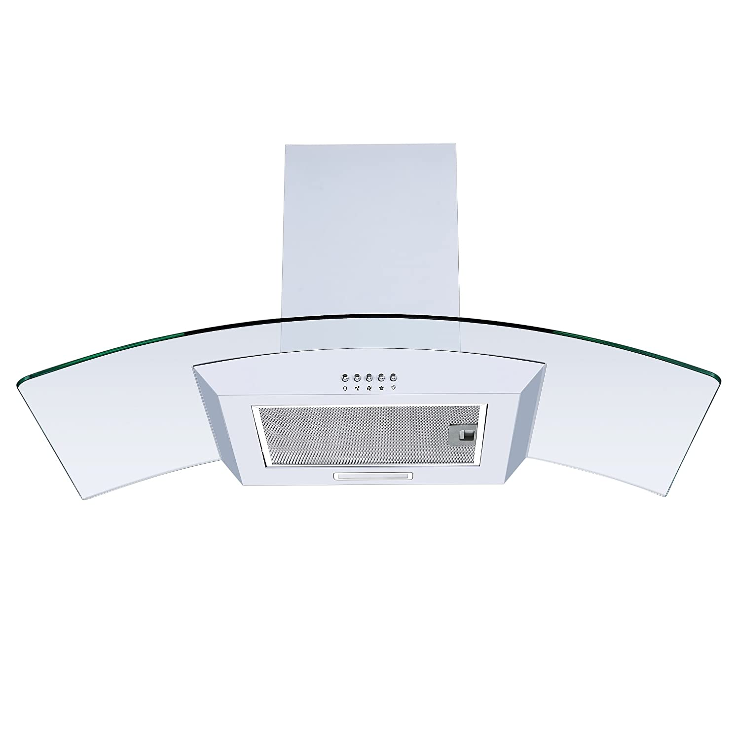 White 90cm Curved Glass Chimney Cooker Hood | Cookology CGL900WH Unbranded Extractor Fan in White