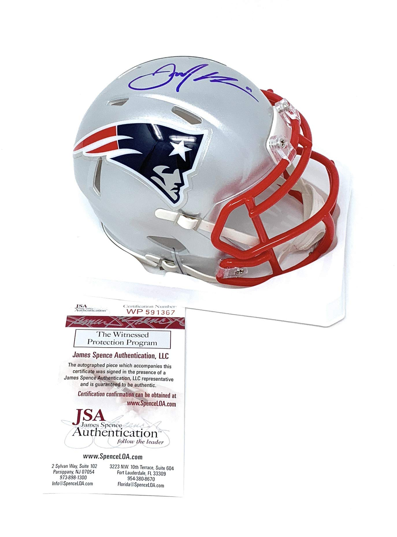 Julian Edelman New England Patriots Signed Autograph Speed Mini Helmet JSA Certified