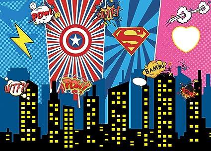 AIIKES 2.1Mx1.5M/7x5FT Vinilo Telón de Fondo de la Fotografía Superhéroe Ciudad Noche Bebé Niños Cumpleaños Fiesta Fondo de Fotografia Decoración ...