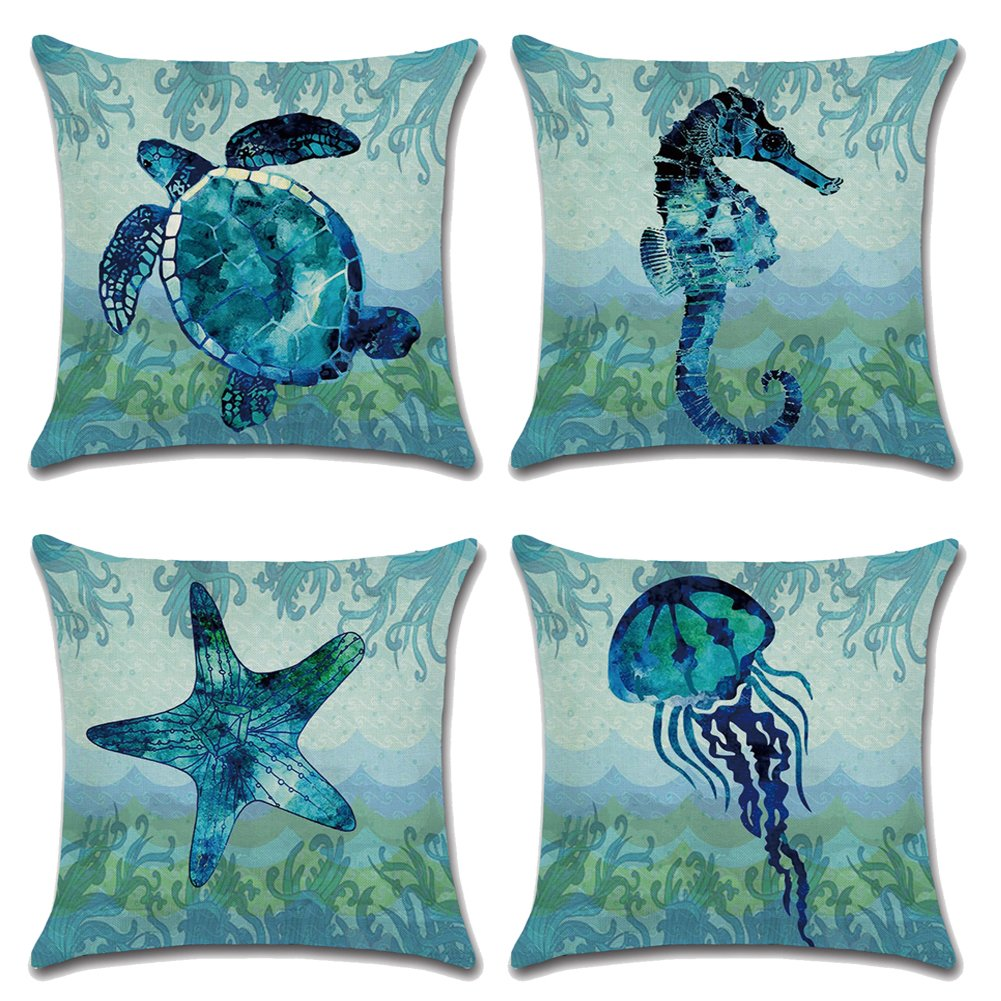 Qinqingo Throw Pillow Covers Sea Theme Marine Animal Pattern Cotton Linen Pillow Covers Home Decorative Sofa Summer Beach Throw Pillowcase Cushion Covers Coastal Theme 18''x 18'' Set of 4 (BOG02)