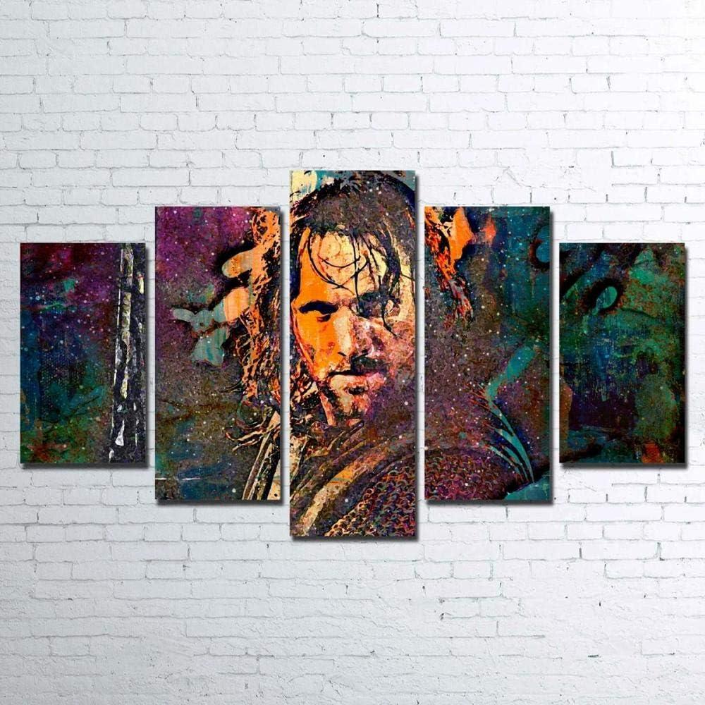 GIRDSS Cuadros Decoracion Salon Modernos 5 Piezas Lienzo Grandes XXL Murales Pared Hogar Pasillo Decor Arte Pared Cuadro Abstracto Aragorn Tamaño 150,80