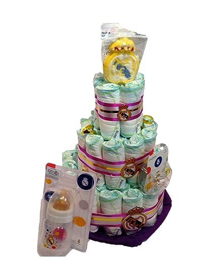 Tarta de pañales DODOT Real Madrid+accesorios: Amazon.es: Bebé