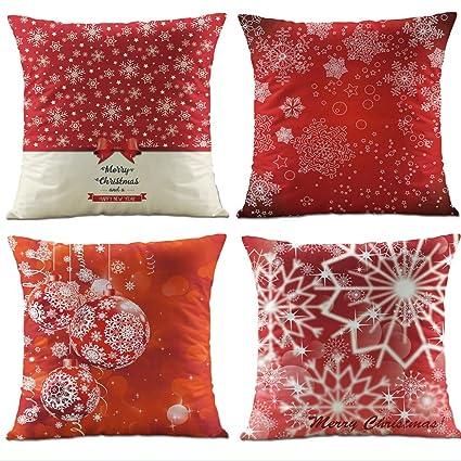Hangood Fundas de Cojín Almohada Decoración Sofá Coche Cama Navidad Xmas Ball Snowflake Conjunto de 4