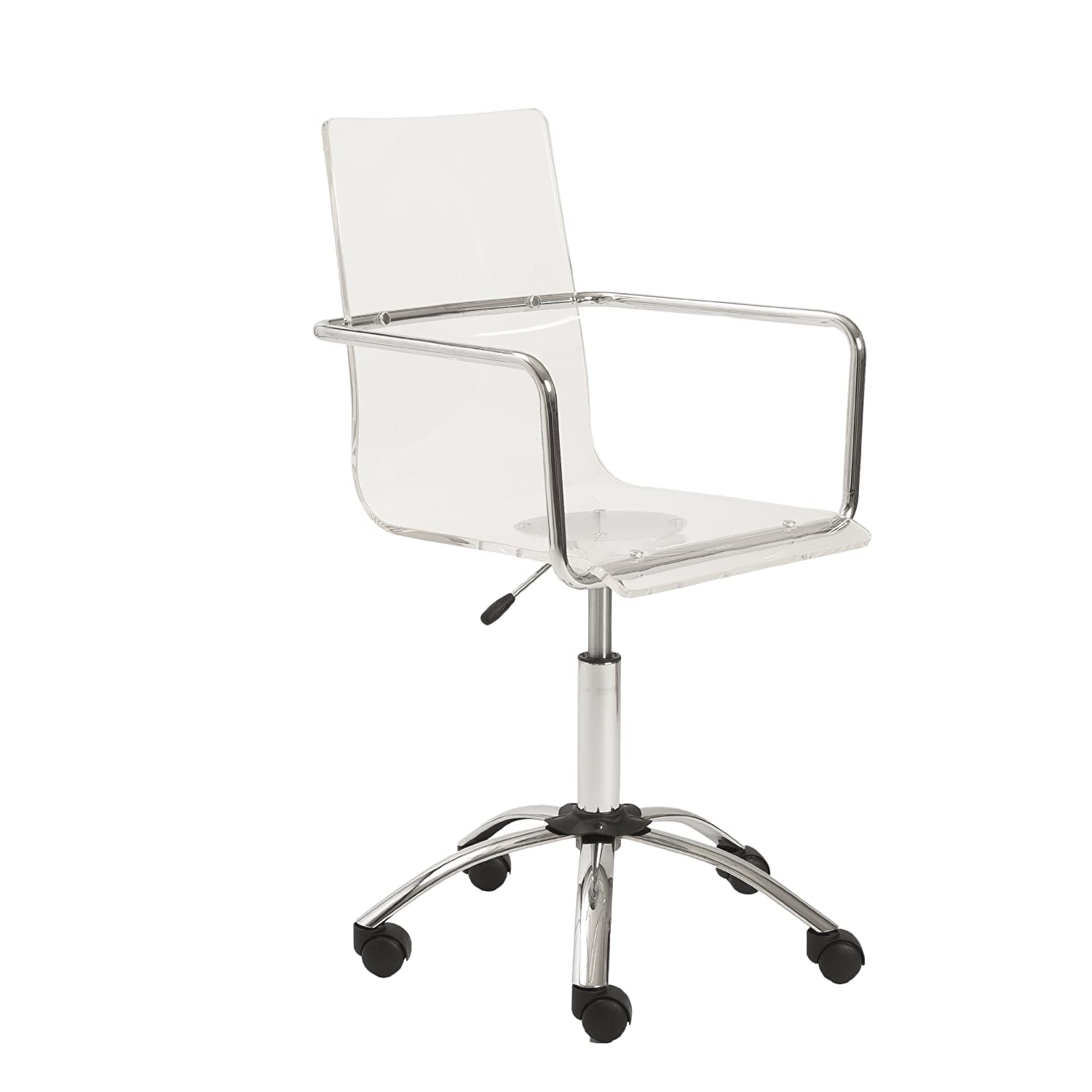 Amazoncom Euro Style Chloe Clear Acrylic Adjustable Office Chair - Clear perspex chairs