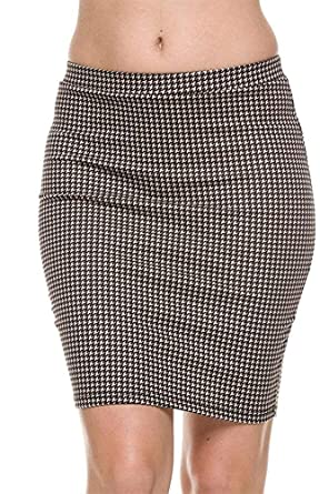 11cfb18fccf The Lovely Women Houndstooth Print Stretch Waist Pencil Straight ...
