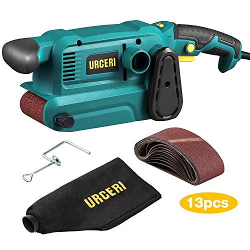 URCERI Belt Sander 800W 3 18 Inch with 13Pcs Sanding belt, 7A Power Bench Sander with 6 Variable Speeds, Dust Collection Bag, 35mm Vacuum Adapter, Screw Clamps and Lock-on Button
