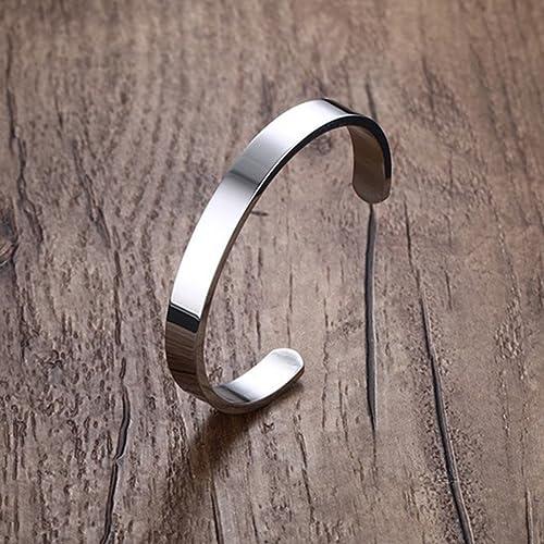 Goodful Acier au Titane Bracelet Poli Finition Jonc Manchette Gourmette Large Ouvert pour Hommes Scintillant Punk Rock Bracelet