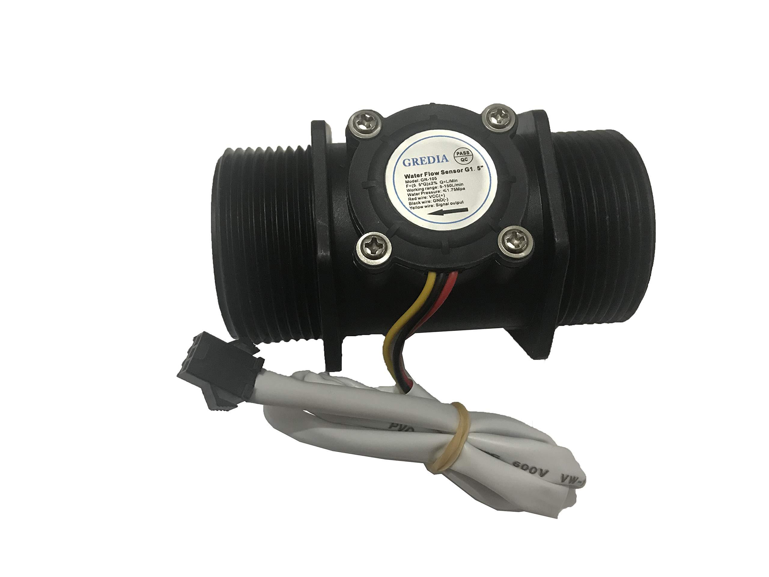 GREDIA G1-1/2'' 1.5'' Water Flow Sensor Food-Grade Switch Hall Effect Flowmeter Fluid Meter Counter 5-150L/min by GREDIA