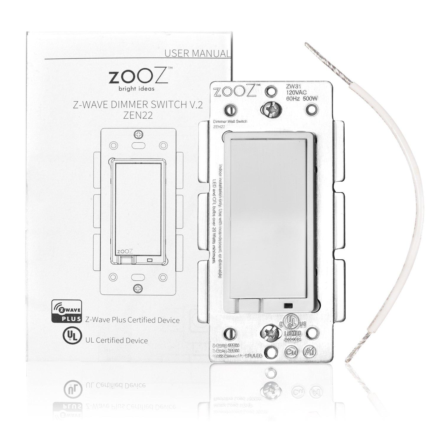 Zooz Z Wave Plus Wall Dimmer Switch Zen22 White Ver 20 Works How A Three Way With Existing Regular 3 Light Switches Tools Home Improvement Tibs