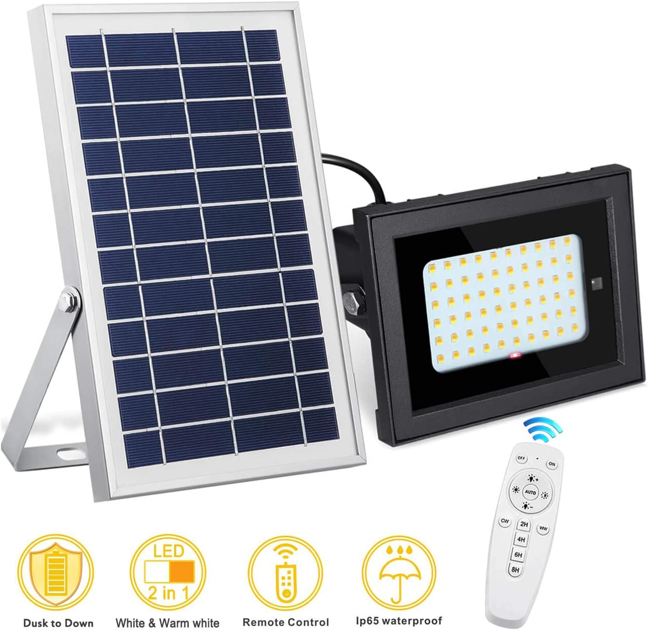 SEMILITS Solar Flood Lights Outdoor Waterproof Solar Billboard Light Dusk to Dawn 60 LED Security Lights with Remote for Backyard Gazebo Pool Upgraded – White Warm White Freely Switching