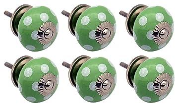 6 St/ück M/öbelkn/öpfe aus Keramik Wei/ß // Schwarz Punktemuster