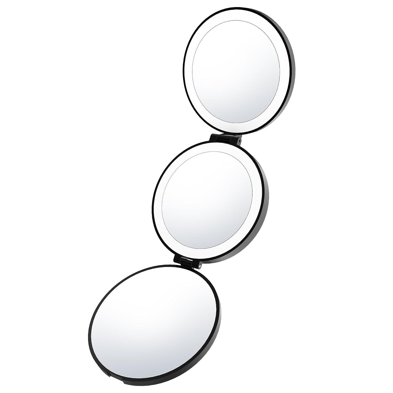 Lightswim Portatile Illuminato Trucco Specchio Luce Naturale Illuminata a LED Make up Specchio con Ingrandimento 1 x/5 x/10 x Tri-Fold Vanity per Viaggi Ricaricabile USB di Ricarica