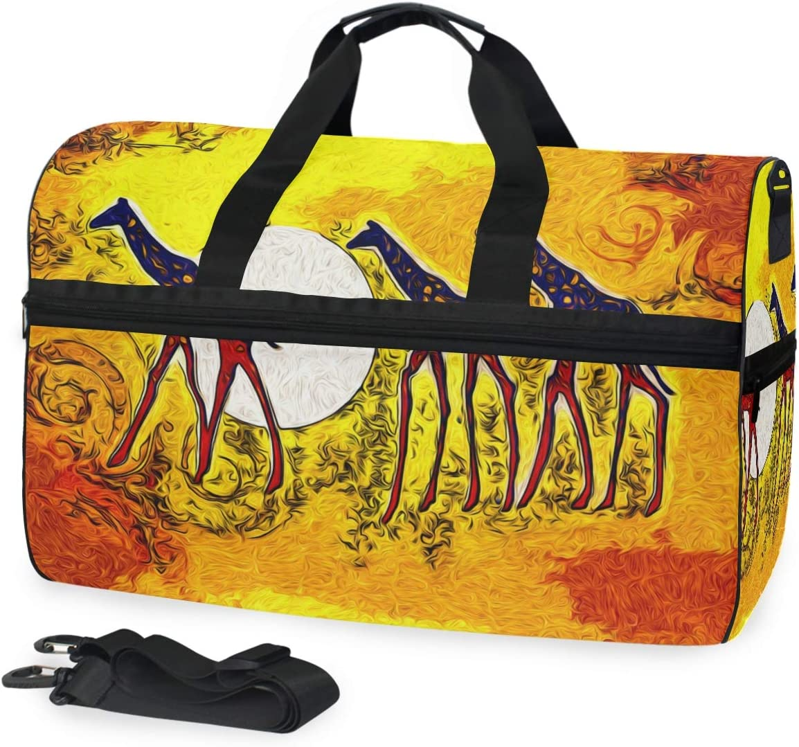 TFONE Vintage African Giraffe Duffel Bag Sports Gym Weekend Bags with Shoe Compartmen